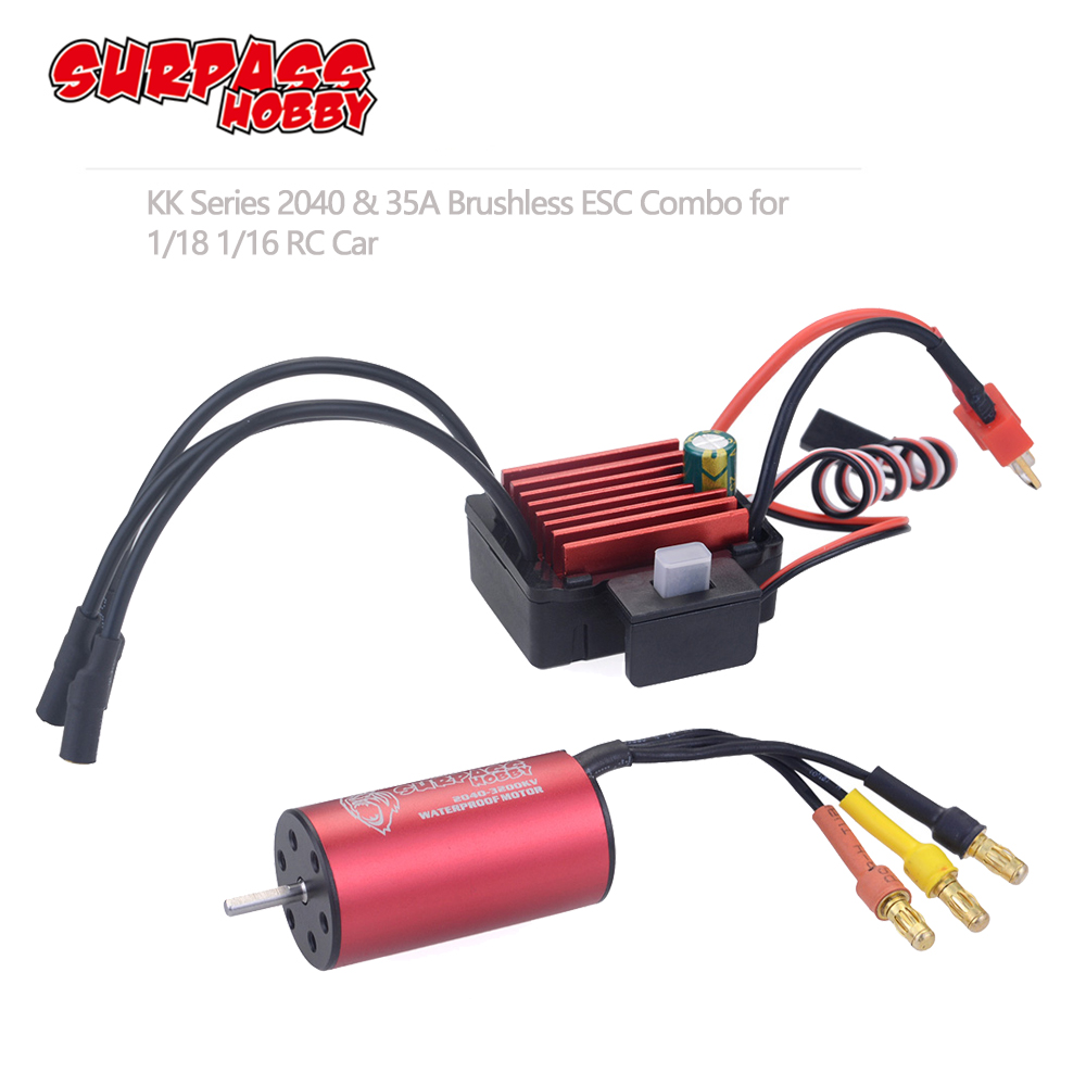 SURPASSHOBBY KK Combo 2040 2280KV 3200KV 3900KV 4480KV Brushless Motor W/ 35A ESC For Traxxas HSP Tamiya Axial 1/16 1/18 RC Car