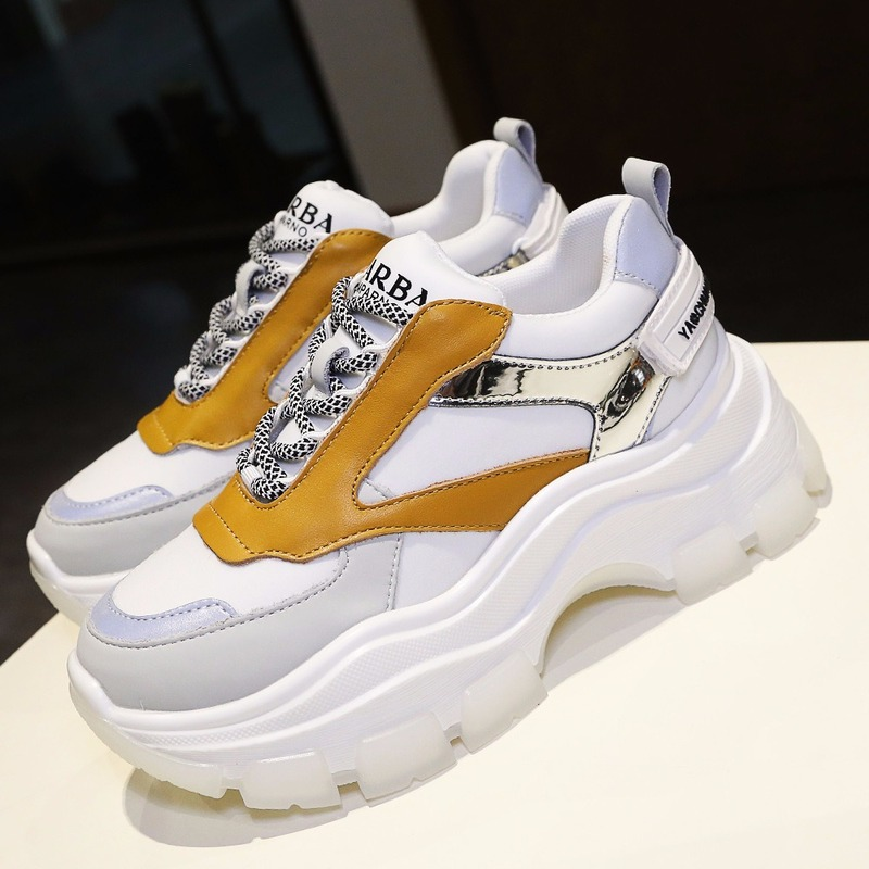QWEDF High Quality Trainers Women's Platform Sneakers Women Shoes Breathable Casual Women Chunky Sneakers Plus Size 35-39 F6-77