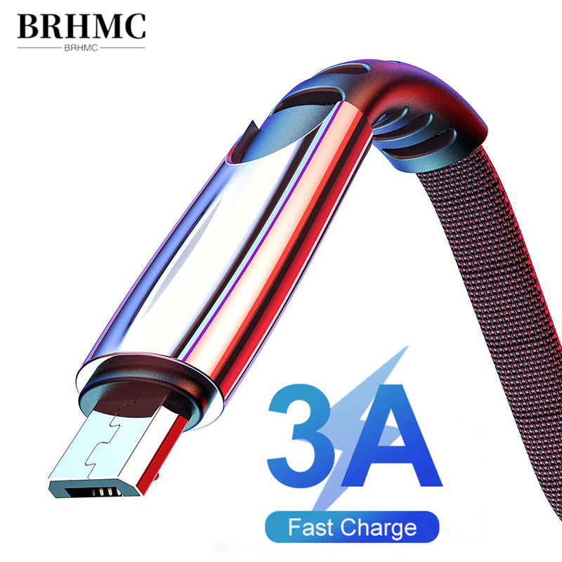 BRHMC Micro USB Cable 3A Nylon Fast Charge USB Data Cable for Samsung Xiaomi LG Tablet Android Mobile Phone USB Charging Cord 1