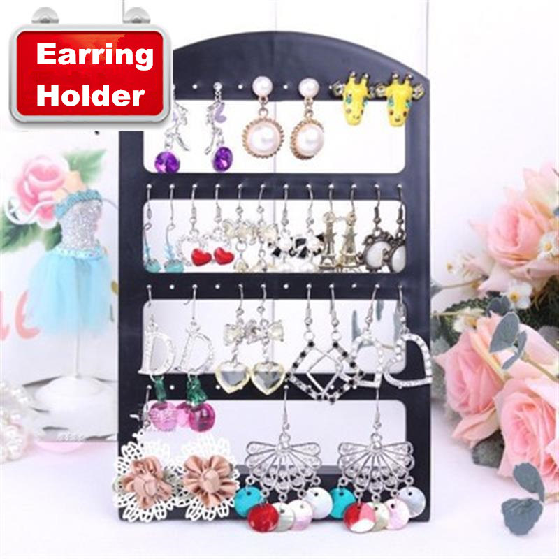 48 Holes Mini Portable Black Acrylic Jewelry Organizer Display Rack Desktop Stand Fashion Stud Earring Holder Etagere Showcase