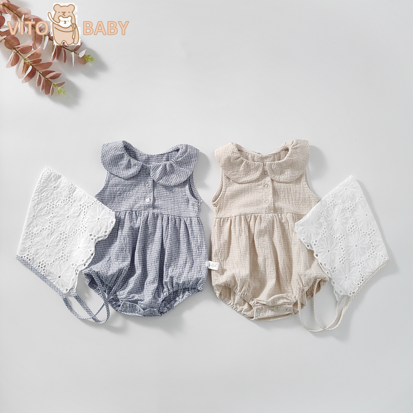 Baby Girls Romper Cotton Broken Beautiful Design Jumpsuit with Rompers Knitted Ruffle Outfit