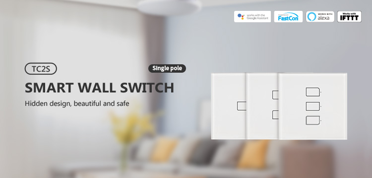 H00959b7d6d474e46b7651810a858ea79u - BroadLink Bestcon TC2S  Single Pole RF433 Wireless Remtoe Control Smart Wall Light Touch Switch Works with Alexa Google Home