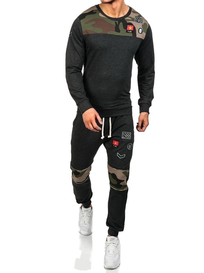 ZOGAA  2019 Spring Two Piece Men Tracksuit Men Long Sleeve Hoodies Top+Sweat Pant Men's Set Causal Joggers Sportswear Plus Size