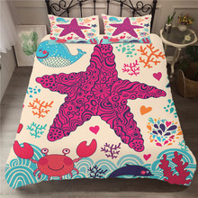 Bed Coverlet Elastic Material Bedding Cover Cartoon Starfish Printed Duvet Cover Bedroom Clothes with Pillowcase