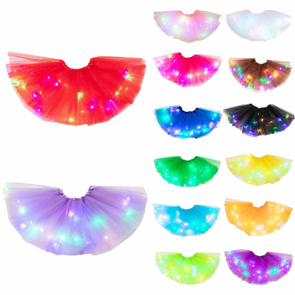 New Fashion LED Glow Girl Tutu Skirt Wreath Costume Kids Baby Birthday Party Costume Flower Fairy Fancy Dress Christmas navidad