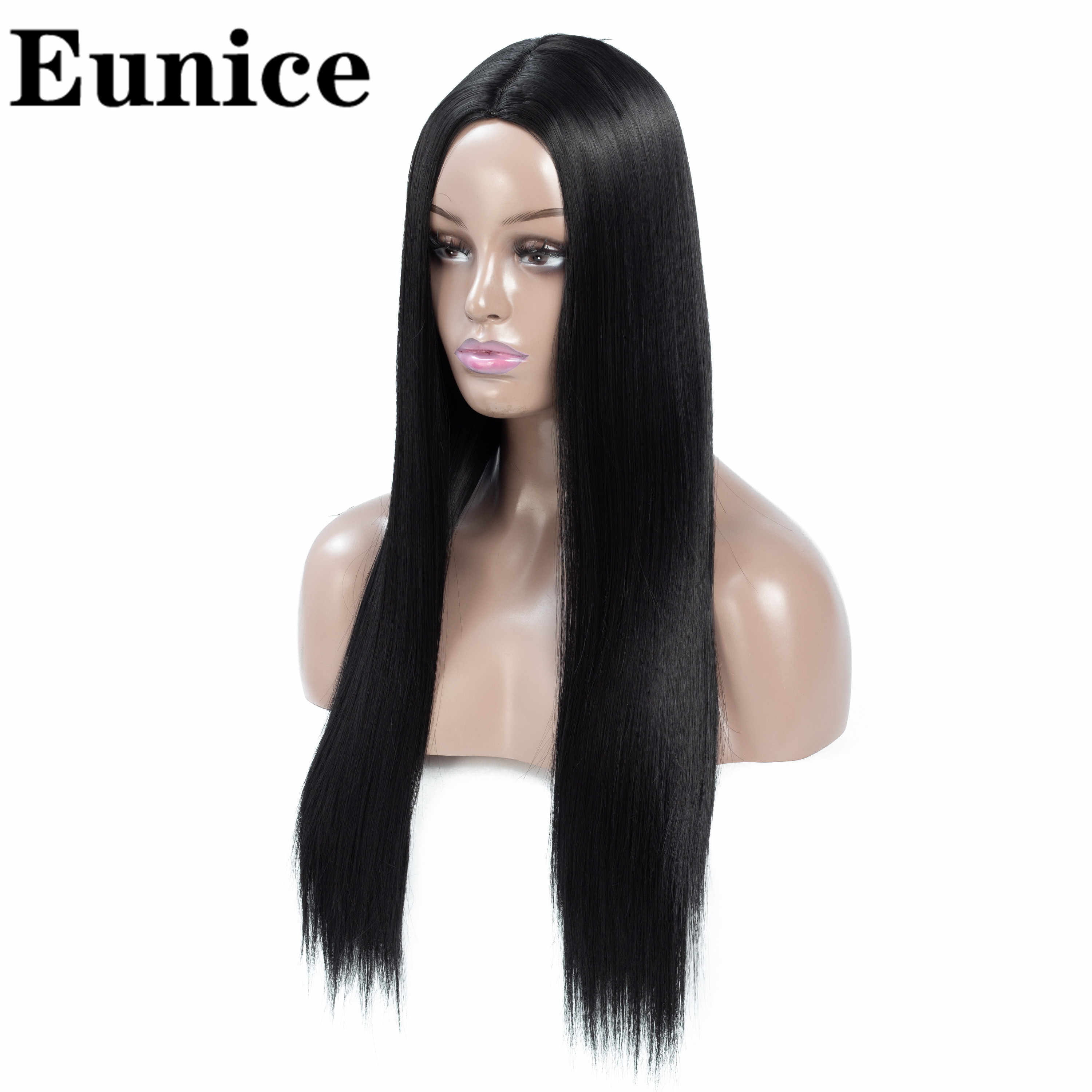 Synthetic Middle Part Dark Root Female Black Long Straight Wigs Ombre Red Pink Blue Brown Gray Cosplay Wigs For Women Eunice
