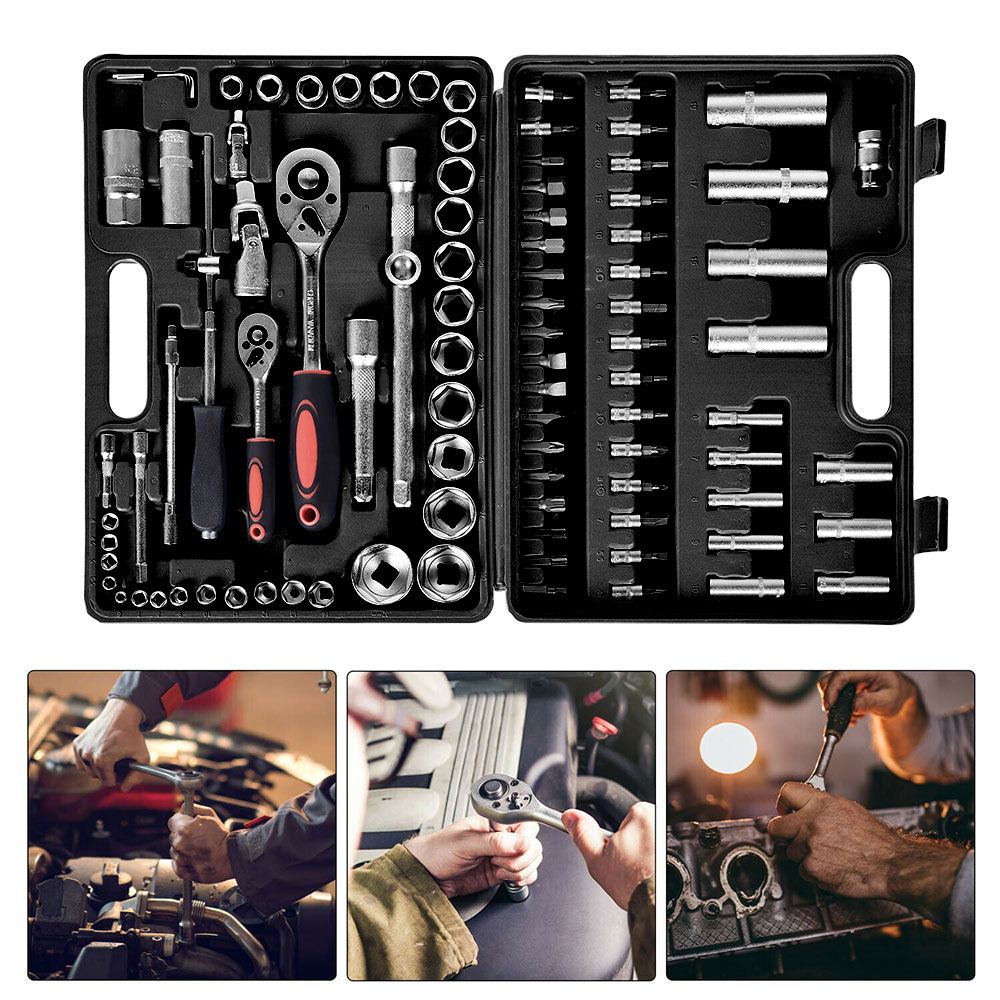 94PCS Socket Ratchet Wrench Multifunctional Auto Sturdy and Durable Ratchet Screwdriver Efficient Removal Repair Tools