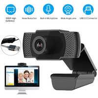 Minicámara Web HD 1080P para ordenador y PC webcámara con enchufe USB, cámaras giratorias para transmisión en vivo, videollamadas, trabajo en conferencia