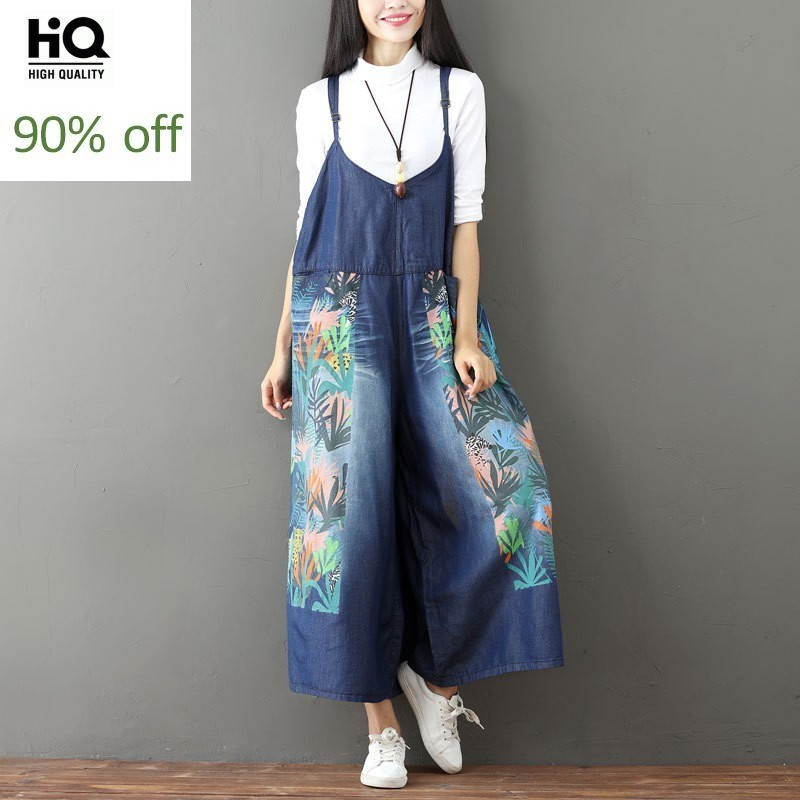 2020 Summer New Printing Flower Denim Overalls Women Loose Fit Casual Wide Leg Pants Bleached Womens Rompers Jumpsuit Free Size