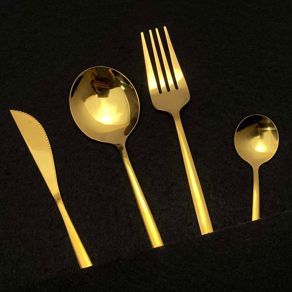 24Pcs White Gold Cutlery Set Kitchen Tableware Set Stainless Steel Dinnerware Set Knife Fork Spoon Dinner Set Dishwasher Safe