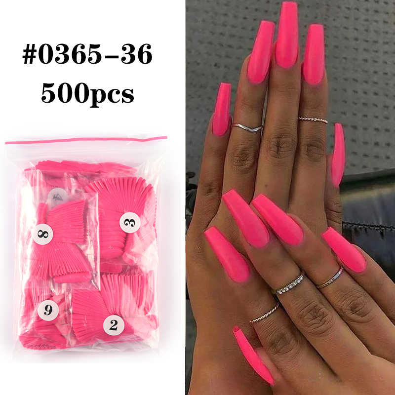 500Pcsที่มีสีสันเท็จเล็บยาวBallerina Coffinรูปร่างUVเงายาวพิเศษFull WrapสีBallerinaเล็บ