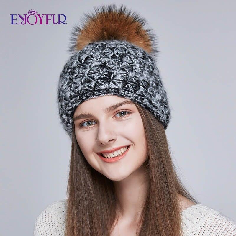 ENJOYFUR Handmade Warm Winter Hats For Women Real Fox/Raccoon Fur Pompom Beanies Mix-color Wool Hat For Girls