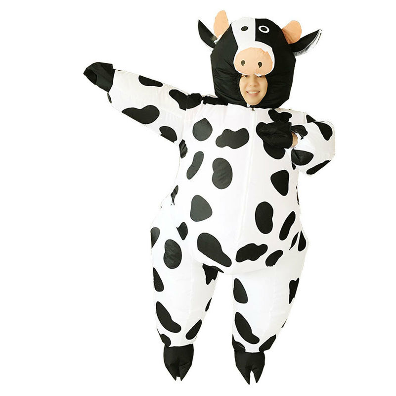 Adult Inflatable Cow Costume Jumpsuit Halloween Party Fancy Dress