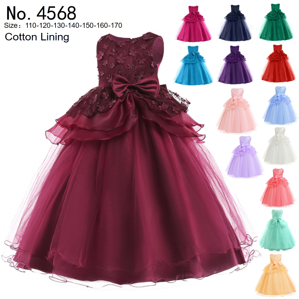 Wholesale Kids Dress 2019 New Style Fuchsia Flower Girl Dresses Ankle Length Child Evening Ball Gowns Pageant Dresses For Girls