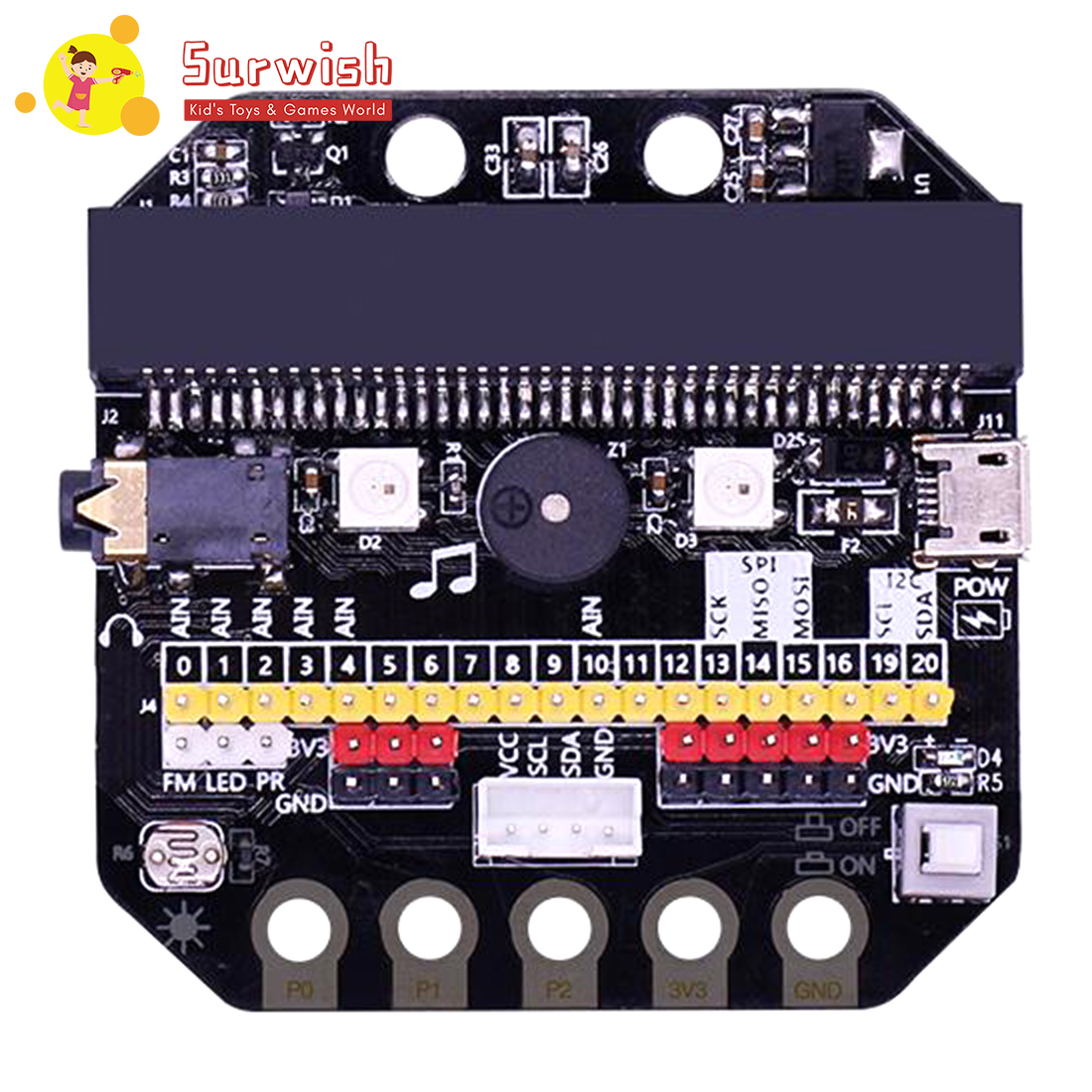 Basic:Bit IO Expansion Board Horizontal Type Pinboard Microbit Python Development Board For Micro:Bit