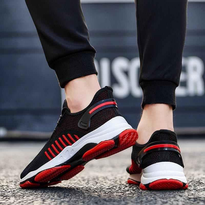 Yaz hava erkek ayakkabısı Sneakers erkek spor ayakkabılar erkekler koşu ayakkabıları spor siyah ganimet erkekler eğitim ayakkabı koşu spor E-365