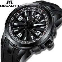 MEGALITH גברים צבאי שעונים Creative טורבינת סיבוב חיוג שעון ספורט עמיד למים קוורץ שעונים Mens שעון Relogio Masculino