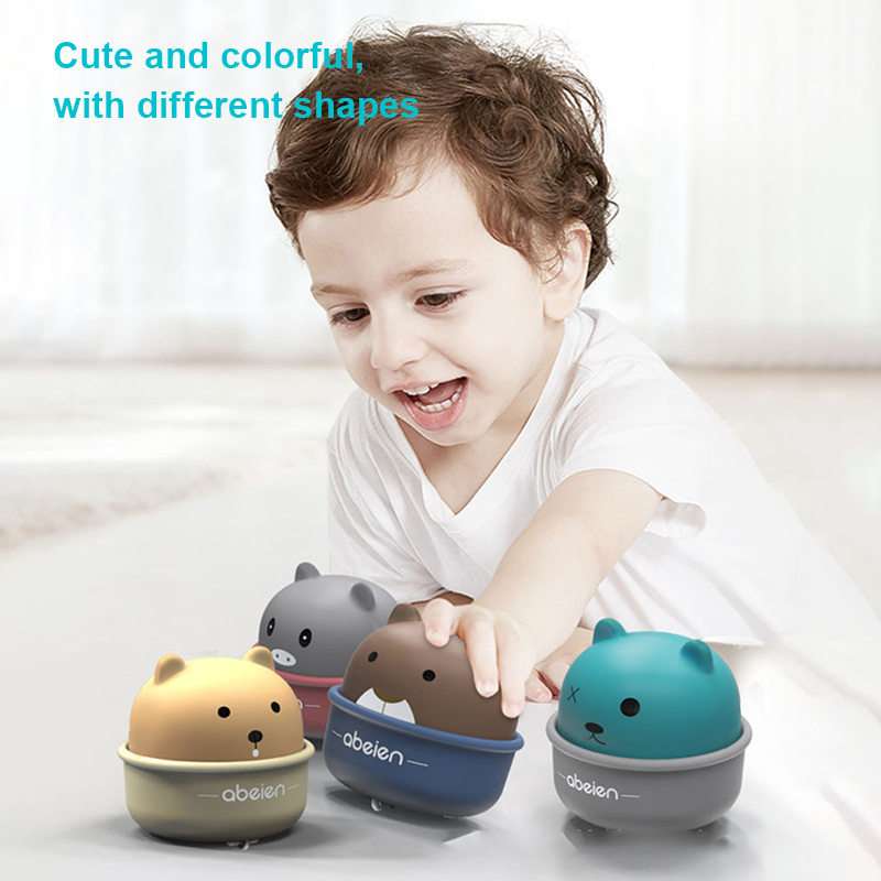 New Pet Press Slide Toy Car Pull Back Inertial Toy Car Push Back Sliding Movement Children Cartoon Bear Cute Cup