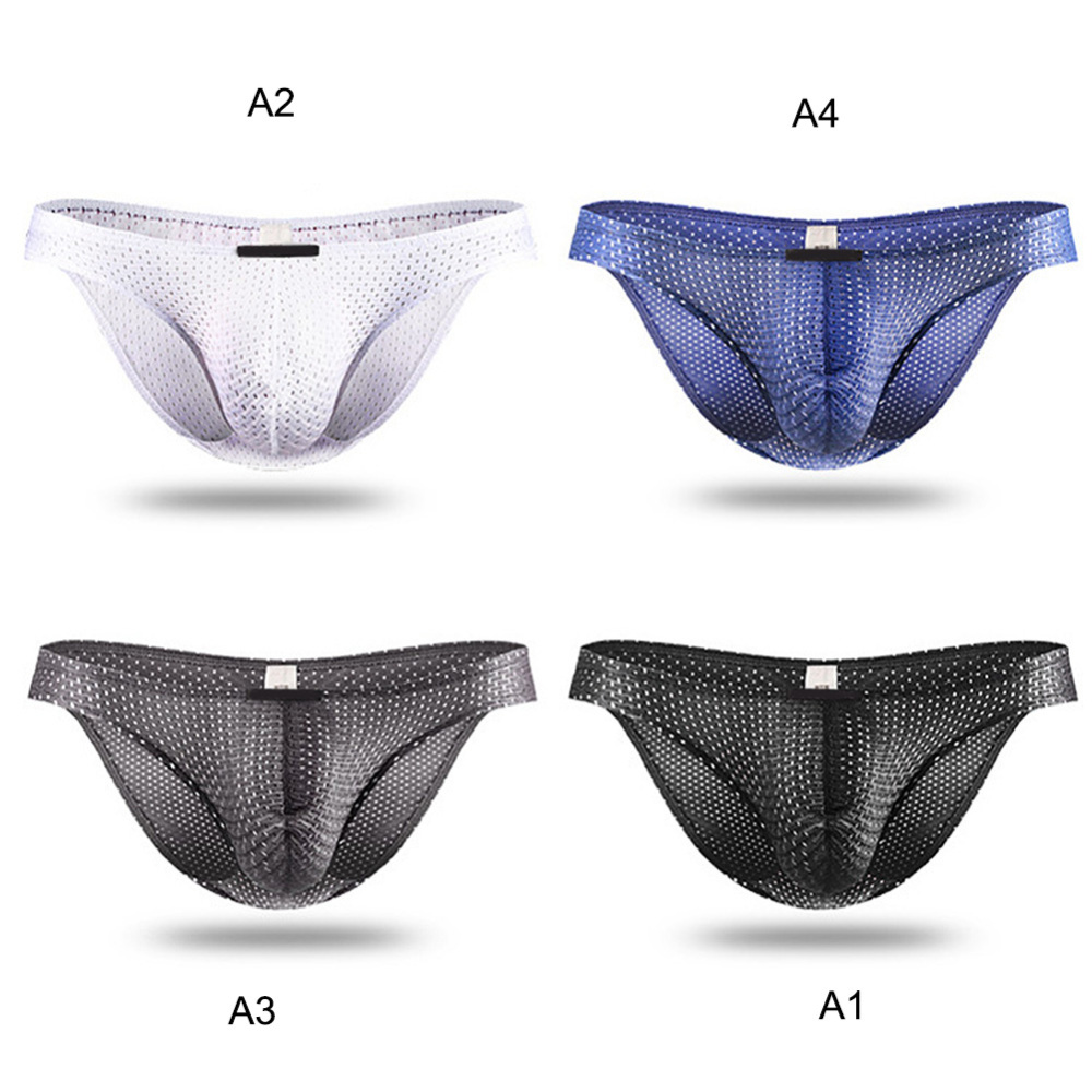 Tight Ice Silk Transparent Underwear Men Briefs Mesh Gauze Casual Triangle Breathable Panty Male Elastic Fabric Underpants