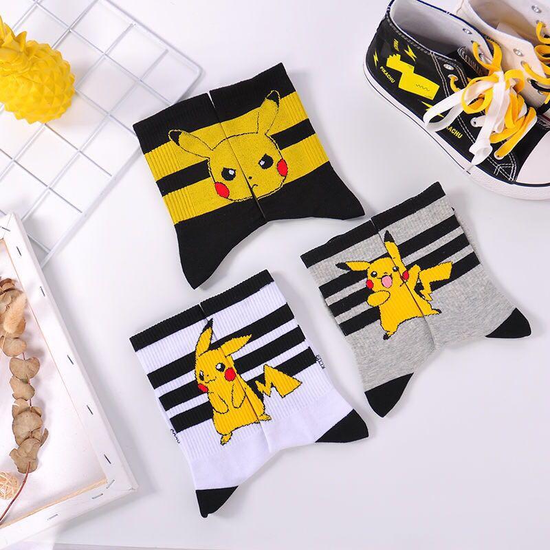 Pikachu Cute Black and Stripped Socks 1