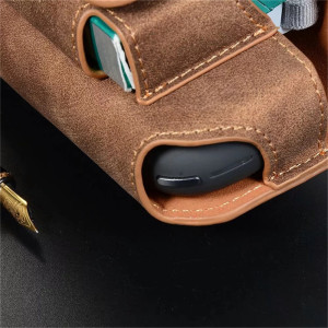 Image 3 - JINXINGCHENG Portable Double Book Bag 5 Colors Flip Hook Leather Cover for iqos 3.0 Case Pouch Holder Leather Case Accessories