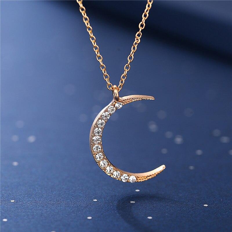 Women Fashion Silver Gold Crescent Moon Stars Pendant Chain Choker Necklace Gift