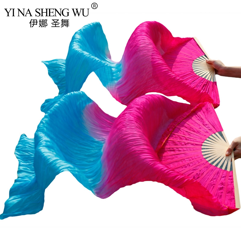 High Qualit Real Silk /Imitation Silk Fabric Dance Fans 1 Pair Bamboo Ribs Handmade Dyed Unisex Silk Belly Dance Fans 180x90cm