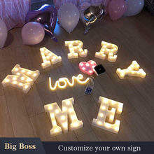 wholes sale pink gold indoor marry me baby heart-shaped mini Valentine's Day marquee letter kit(China)