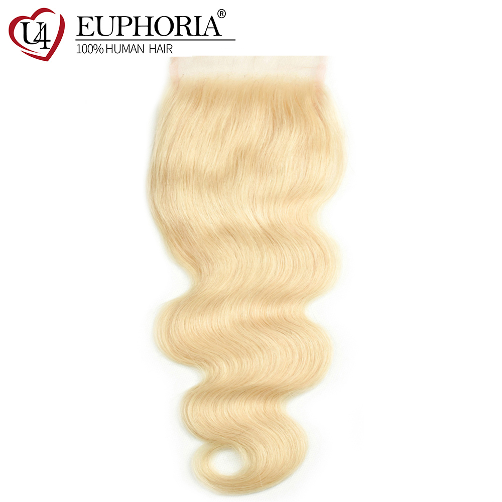 Brazilian 613 Lace Closure With Baby Hair 4x4 Body Wave 100% Remy Human Hair Honey Blonde Swiss Lace Closures Middle/Free Part image