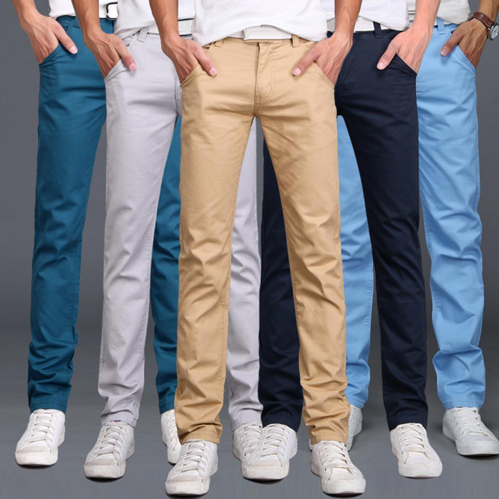 Men Solid Color Button Cotton Straight Long Pants Pockets Business Trousers