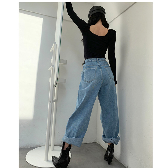 South Korea INS Summer New Style Retro High-waisted Slimming Wide-Leg Cowboy Trousers Women's