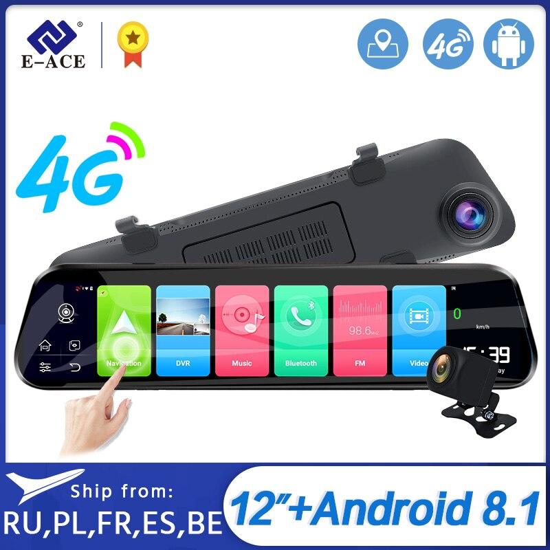 E-ACE D14 Dvr Android 4G потоковое зеркало заднего вида навигация ADAS Автомобильная камера 12 дюймов Зеркало dvr FHD видео регистратор Авто Регистратор