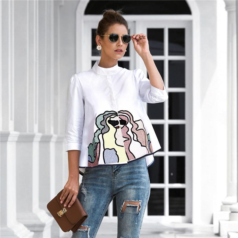 Primavera verão bordado impressão blusas femininas casual três quartos manga moda blusa camisa superior para mulher 2021 novo