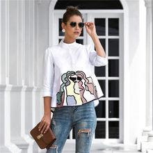İlkbahar yaz nakış baskı bluzlar kadınlar rahat üç çeyrek kollu moda bluz gömlek üst kadınlar için 2021 yeni
