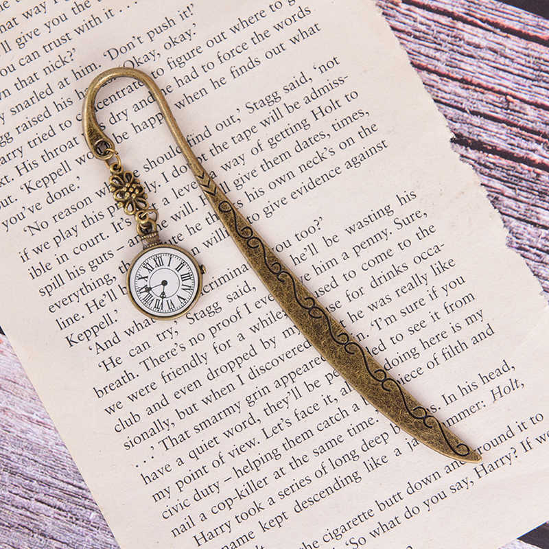Heißer Verkauf Lustige Uhr Metall Lesezeichen Vintage Retro Turm Buch Marker Papier Clips Für Kinder Geschenk Schreibwaren Student Geschenk