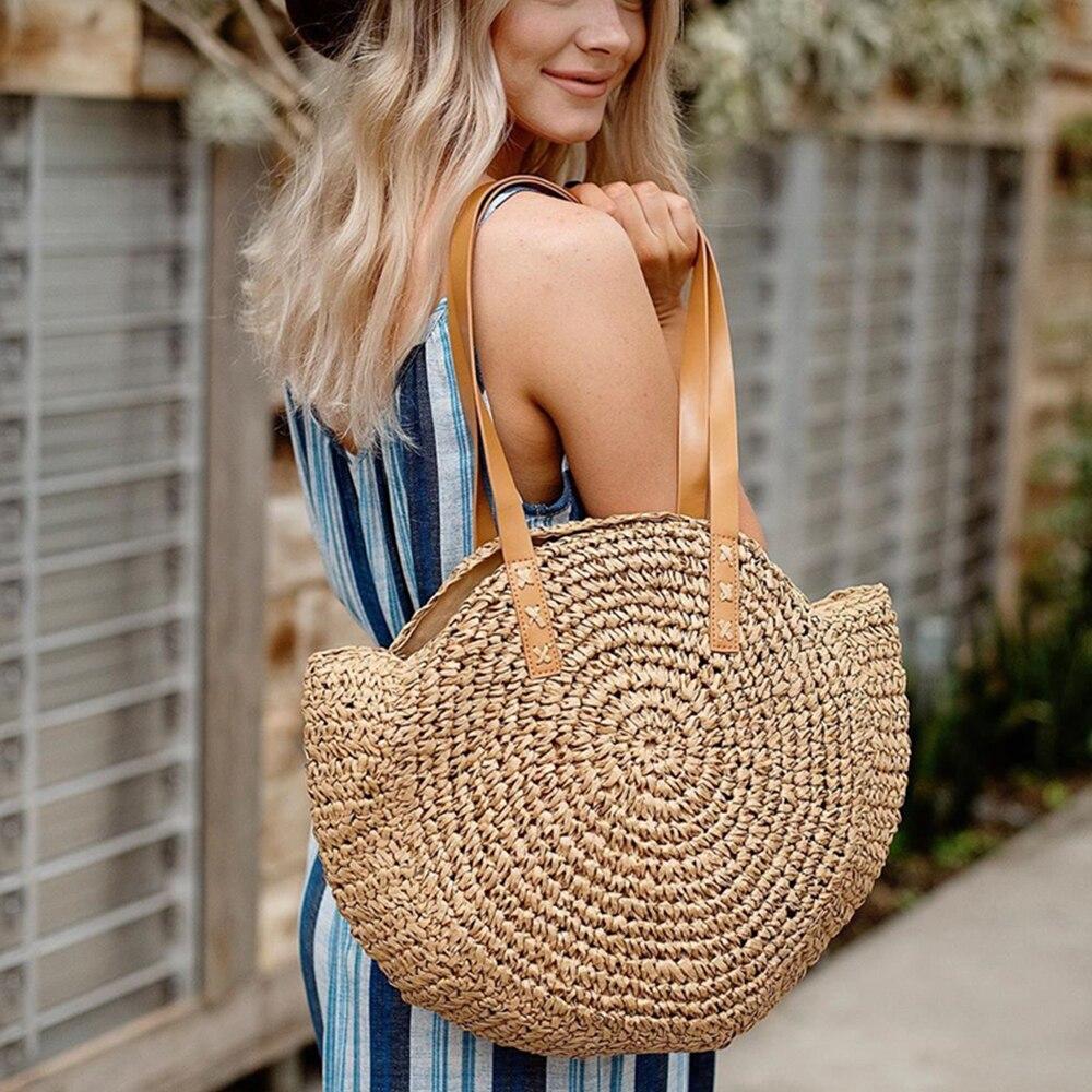 Beach Rattan Bag Hand Woven Straw Bag Bohemian Summer Handbag Travel Female Tote Wicker Bag Bolsos De Mimbres Paja