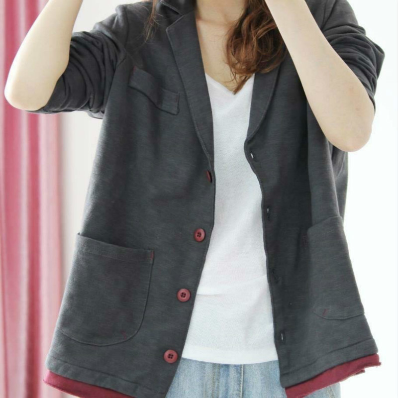 2020 Spring Autumn Women Cotton Blazer Long Sleeve Ladies Single Breasted Suit Jacket Female Feminine Blazer Femme Knited Blazer