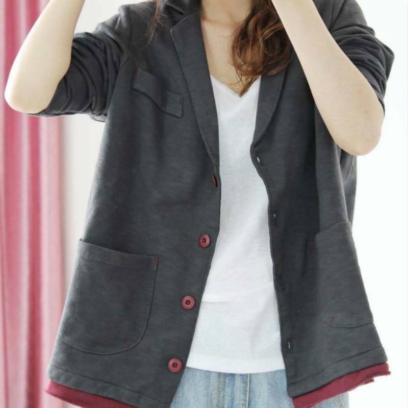 2020 Spring Autumn Women Cotton Blazer Long Sleeve Ladies Single Breasted Suit Jacket Female Feminine Blazer Femme Knited Blazer