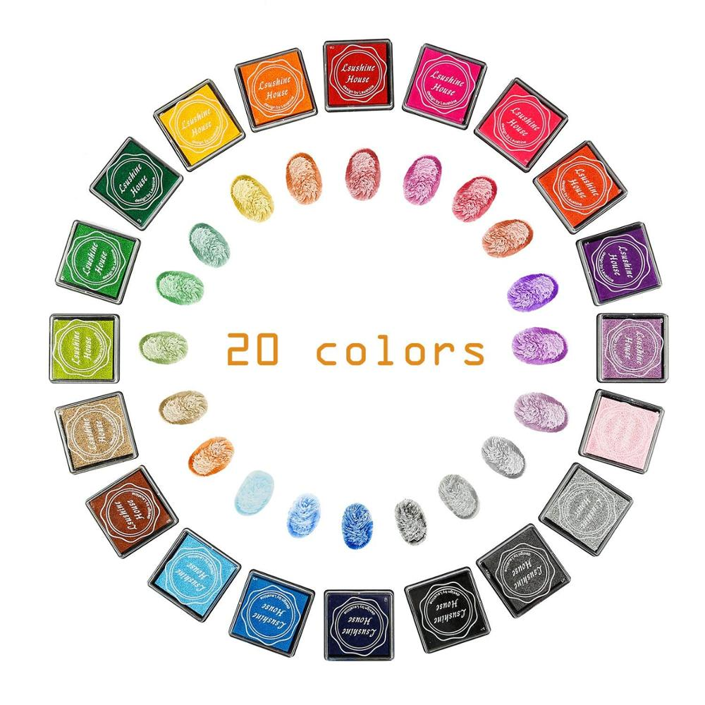 20 Pcs/lot Cute Cartoon DIY Ink Pad Plastic Stamp Fingerpaint Inkpad For Scrapbooking Decoaration 20 Colors