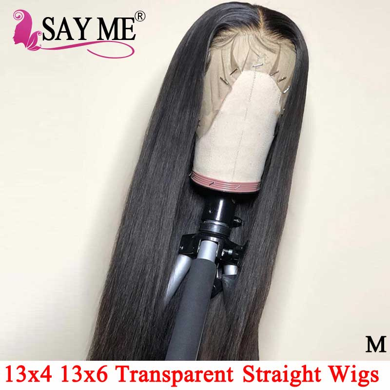 180 Density Invisible Lace Front Human Hair Wigs Glueless 13x4 Transparent HD Brazilian Straight Lace Front Wigs For Black Women