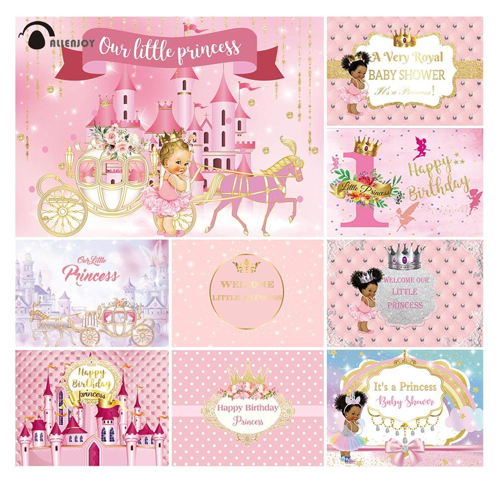 Allenjoy princess dress prince photography backgrounds Crown carriage castle flowers photocall child birthday party supplies