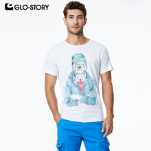 GLO-STORY 2019 Mens Short Sleeve T-Shirts Fun Cartoon Style Basic Streetwear Male Fashion Summer Tops MPO-8620