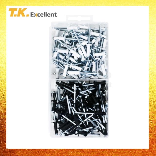 T.K.Excellent Rivets Screw Tools Home Decoration Fastener Pop Rivets Metalworking Rivets Aluminium 4.8*16 Black and White 160Pcs