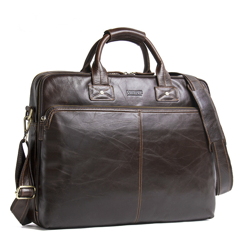 Top Quality Men Business Briefcase Computer Bag Women Genuine Leather Laptop Handbag Male Luxury Shoulder Bags Bolso Hombre 2020