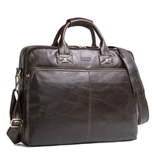 Top Quality Men Business Briefcase Computer Bag Women Genuine Leather Laptop Han