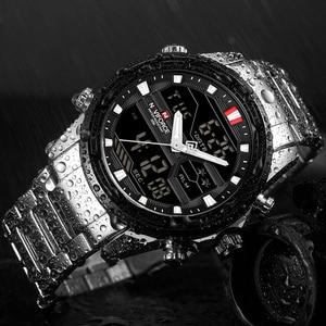 Image 5 - NAVIFORCE montre de luxe pour hommes, en acier, bracelet militaire, numérique de sport, étanche, à Quartz