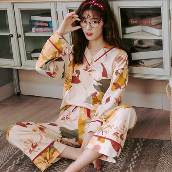 Cotton Long-sleeved Long Trousers Women Pajamas Set for Spring and Summer Autumn Comfortable Cardigan Tops Ladies