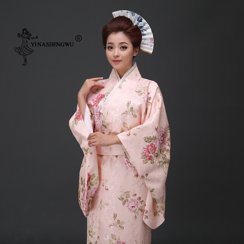 Japanese Traditional Floral Print Long Kimono Japan Femmes Stage Costume Cosplay Cotume Asian Clothings Sexy Geisha Yukata Women