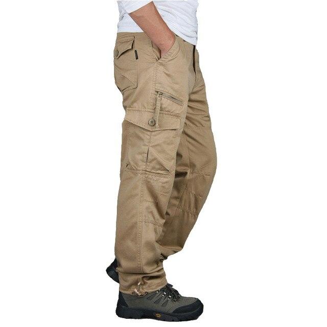 New 2019 Men Cargo Pants Multi Pockets Military Tactical Pants Men Outwear Streetwear Army Straight Slacks Casual Long Trousers 4