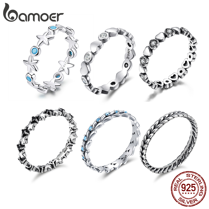 BAMOER Stackable Finger Rings For Women 925 Sterling Silver Wedding Engagement Ring Starfish Heart Cat Design Ring Jewelry